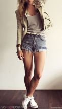 Best high waisted short denim outfits style 67