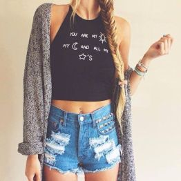 Best high waisted short denim outfits style 7