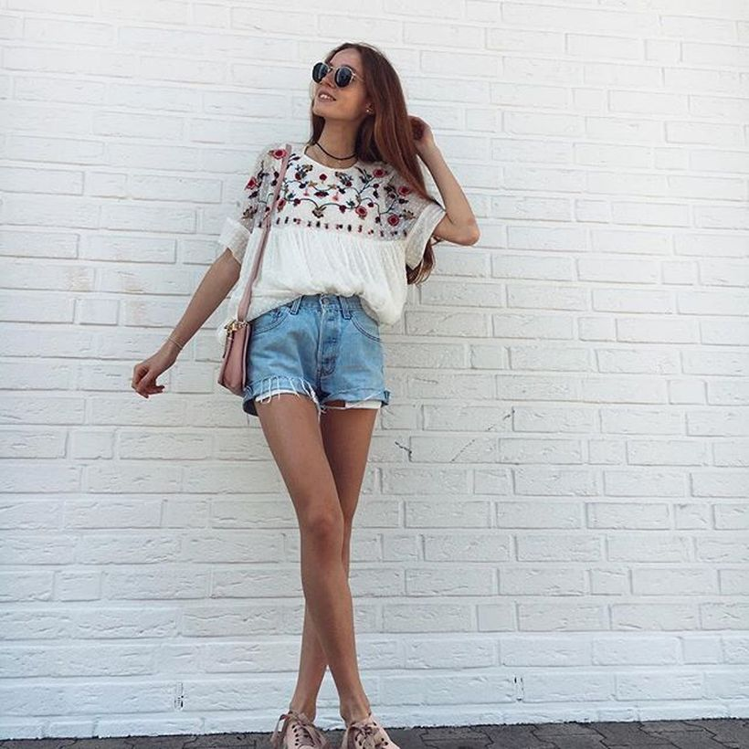 Best high waisted short denim outfits style 71