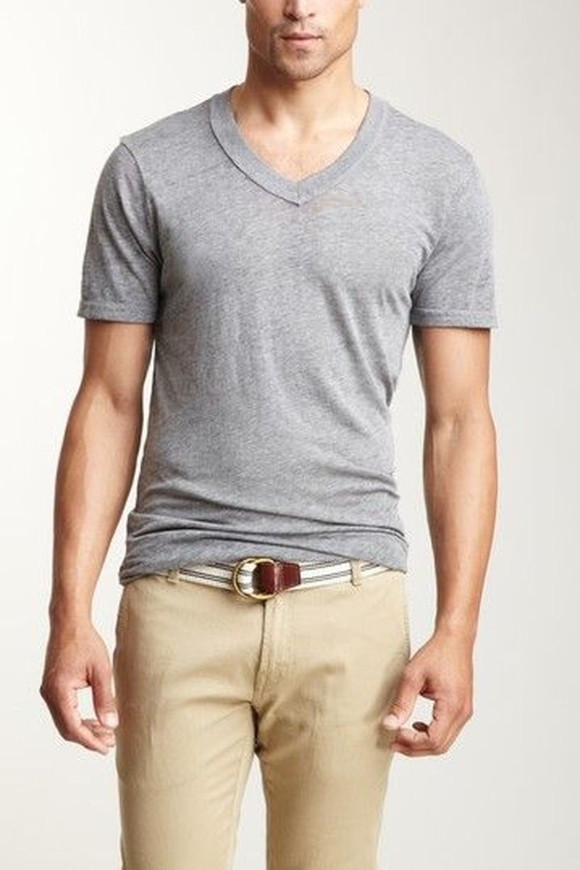 Cool casual men plain t shirt outfits ideas 38