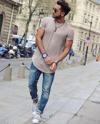 Cool casual men plain t shirt outfits ideas 5