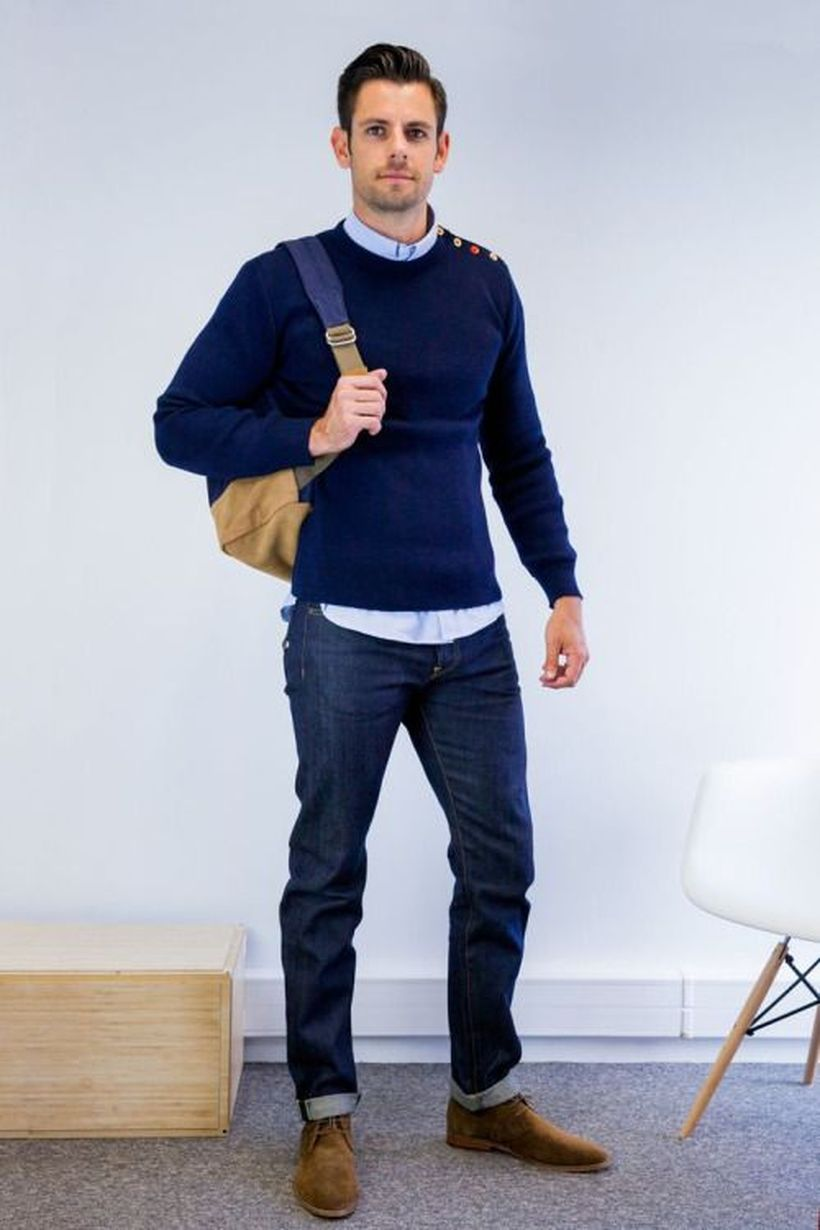 Cool men sweater outfits ideas 1