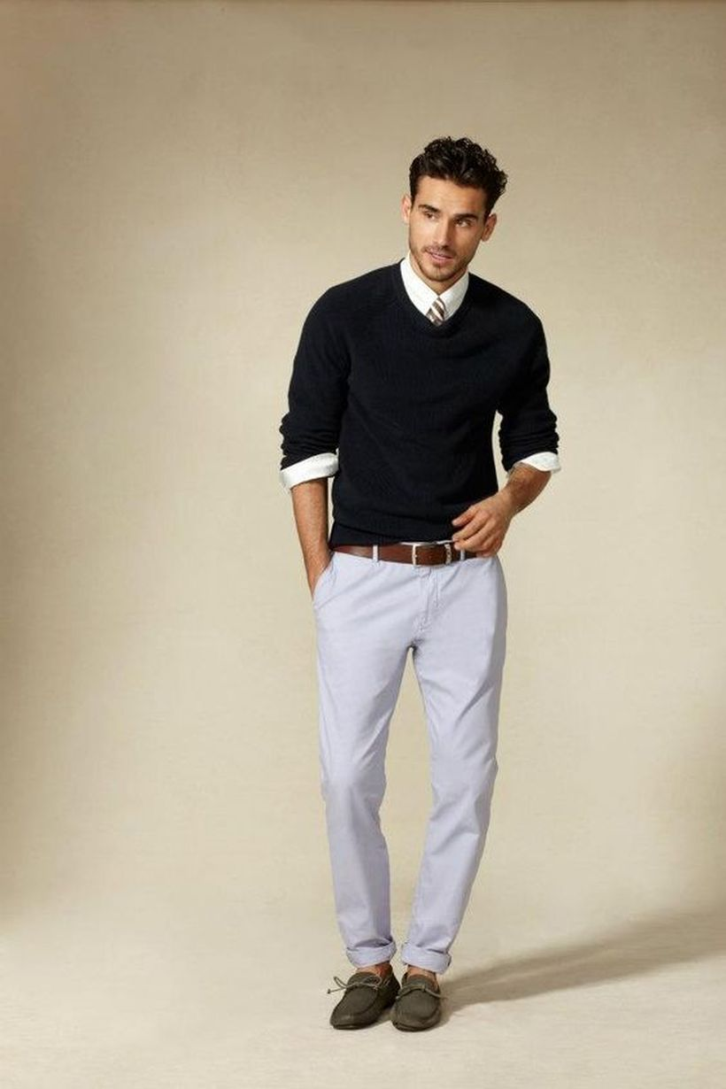 Cool men sweater outfits ideas 19