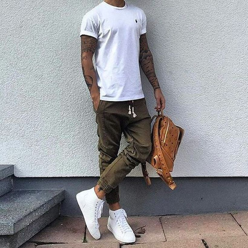 Cool mens joggers outfit ideas 28