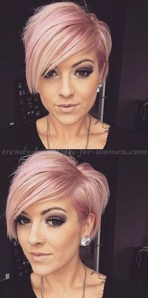 Funky short pixie haircut with long bangs ideas 1
