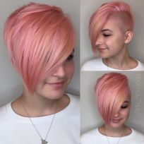 Funky short pixie haircut with long bangs ideas 37