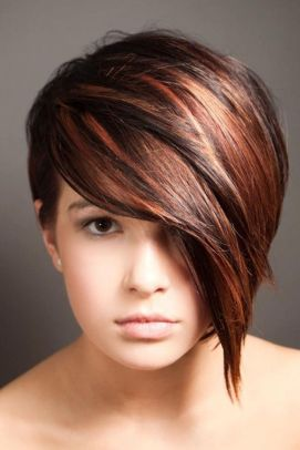 Funky short pixie haircut with long bangs ideas 57
