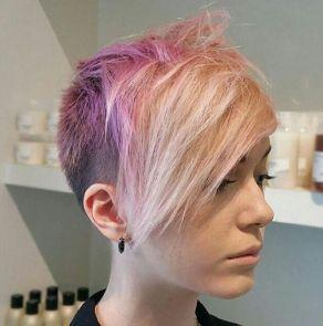 Funky short pixie haircut with long bangs ideas 92