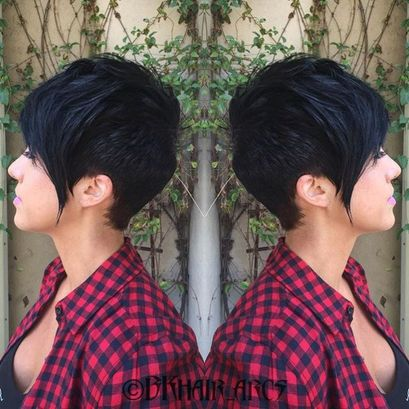 Funky short pixie haircut with long bangs ideas 97