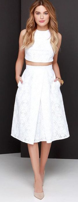 Gorgeous white two piece outfits ideas 38