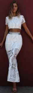 Gorgeous white two piece outfits ideas 62