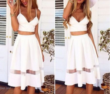 Gorgeous white two piece outfits ideas 69