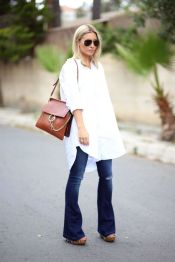 Oversized white shirt with jeans outfits ideas 20