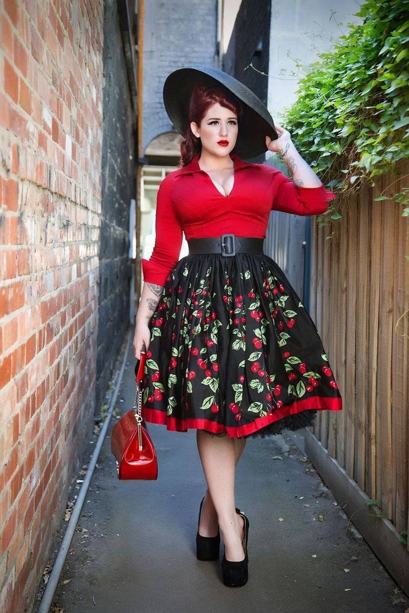 Vintage plus size rockabilly fashion style outfits ideas 87