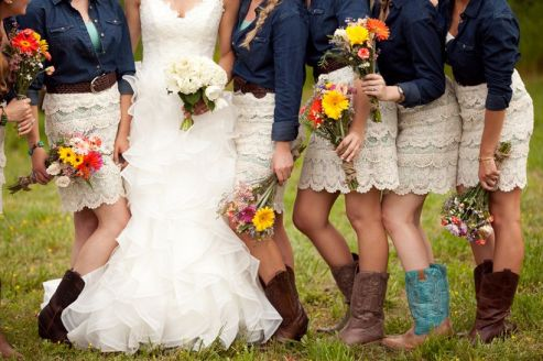 Vintage wedding outfit with country boots 35