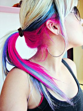 Crazy colorful hair colour ideas for long hair 174