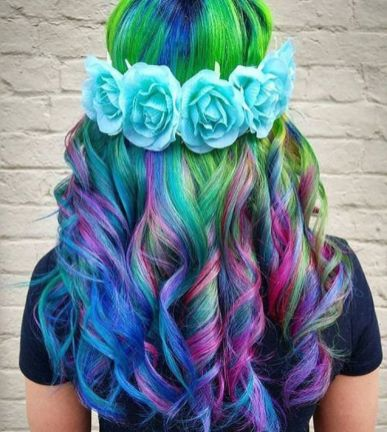 Crazy colorful hair colour ideas for long hair 80