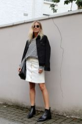 Fashionable white denim skirt outfits ideas 7