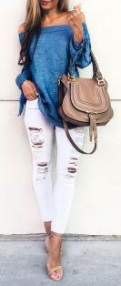Perfect ways to wear white denim jeans outfits 10