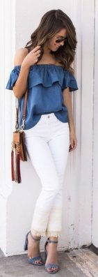 Perfect ways to wear white denim jeans outfits 23