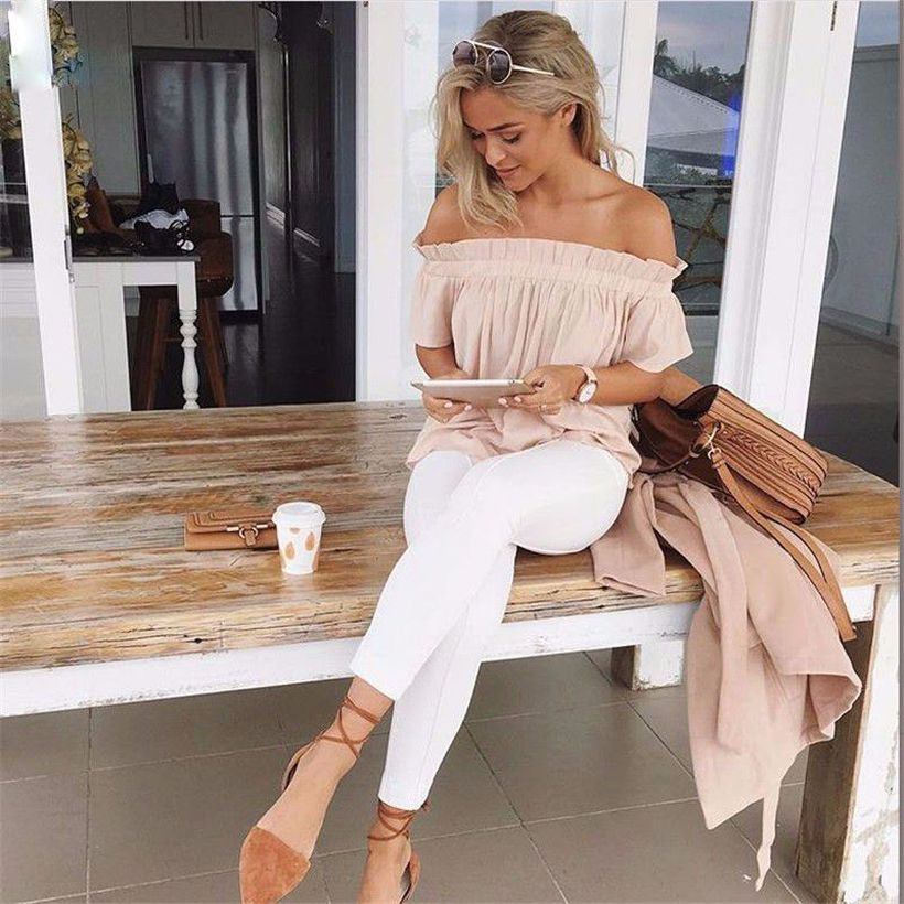 Perfect ways to wear white denim jeans outfits 32
