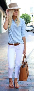 Perfect ways to wear white denim jeans outfits 34