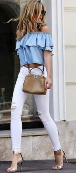 Perfect ways to wear white denim jeans outfits 4