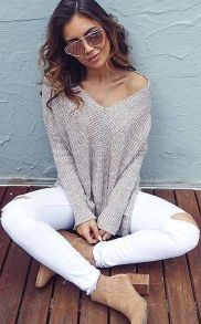 Perfect ways to wear white denim jeans outfits 43