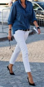 Perfect ways to wear white denim jeans outfits 49