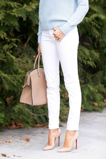 Perfect ways to wear white denim jeans outfits 58