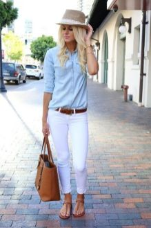 Perfect ways to wear white denim jeans outfits 73