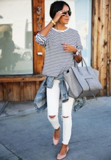 Perfect ways to wear white denim jeans outfits 74