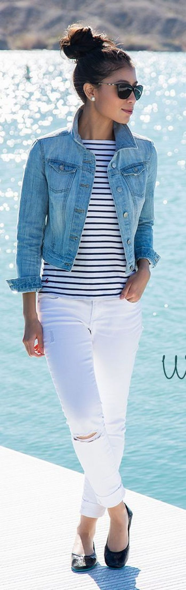 Perfect ways to wear white denim jeans outfits 86