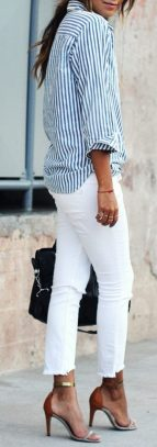 Perfect ways to wear white denim jeans outfits 91