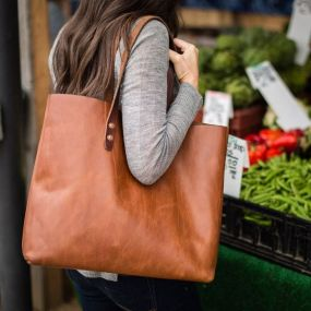 Stylish leather tote bags for work 6