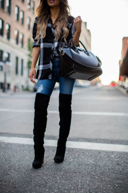 Trendy over the knee boots for winter and fall outfits 26