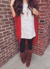 Tips how to wear cardigans and leggings in this fall 2