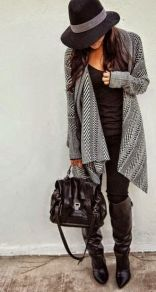 Tips how to wear cardigans and leggings in this fall 32