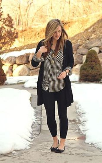 Tips how to wear cardigans and leggings in this fall 48