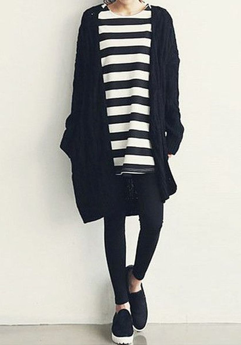 Tips how to wear cardigans and leggings in this fall 75