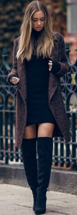 Inspiring skirt and boots combinations for fall and winter outfits 12