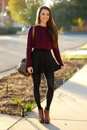 Inspiring skirt and boots combinations for fall and winter outfits 19