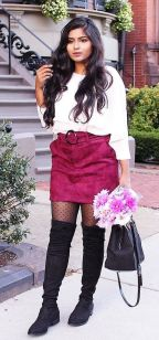 Inspiring skirt and boots combinations for fall and winter outfits 21