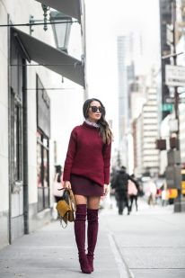 Inspiring skirt and boots combinations for fall and winter outfits 23