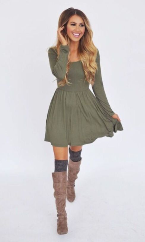 80 Best Skirt and Boots Combinations for Fall and Winter Outfits ... d679e53eb