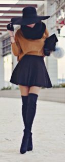 Inspiring skirt and boots combinations for fall and winter outfits 55