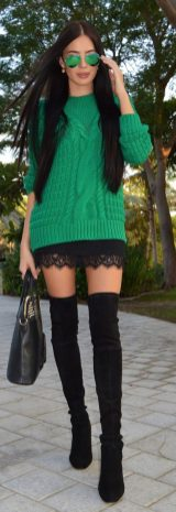 Inspiring skirt and boots combinations for fall and winter outfits 59