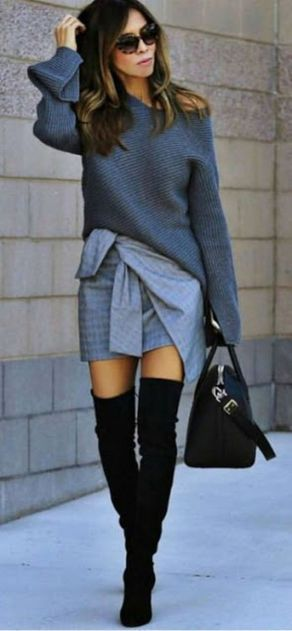 Inspiring skirt and boots combinations for fall and winter outfits 64