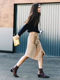 Inspiring skirt and boots combinations for fall and winter outfits 66