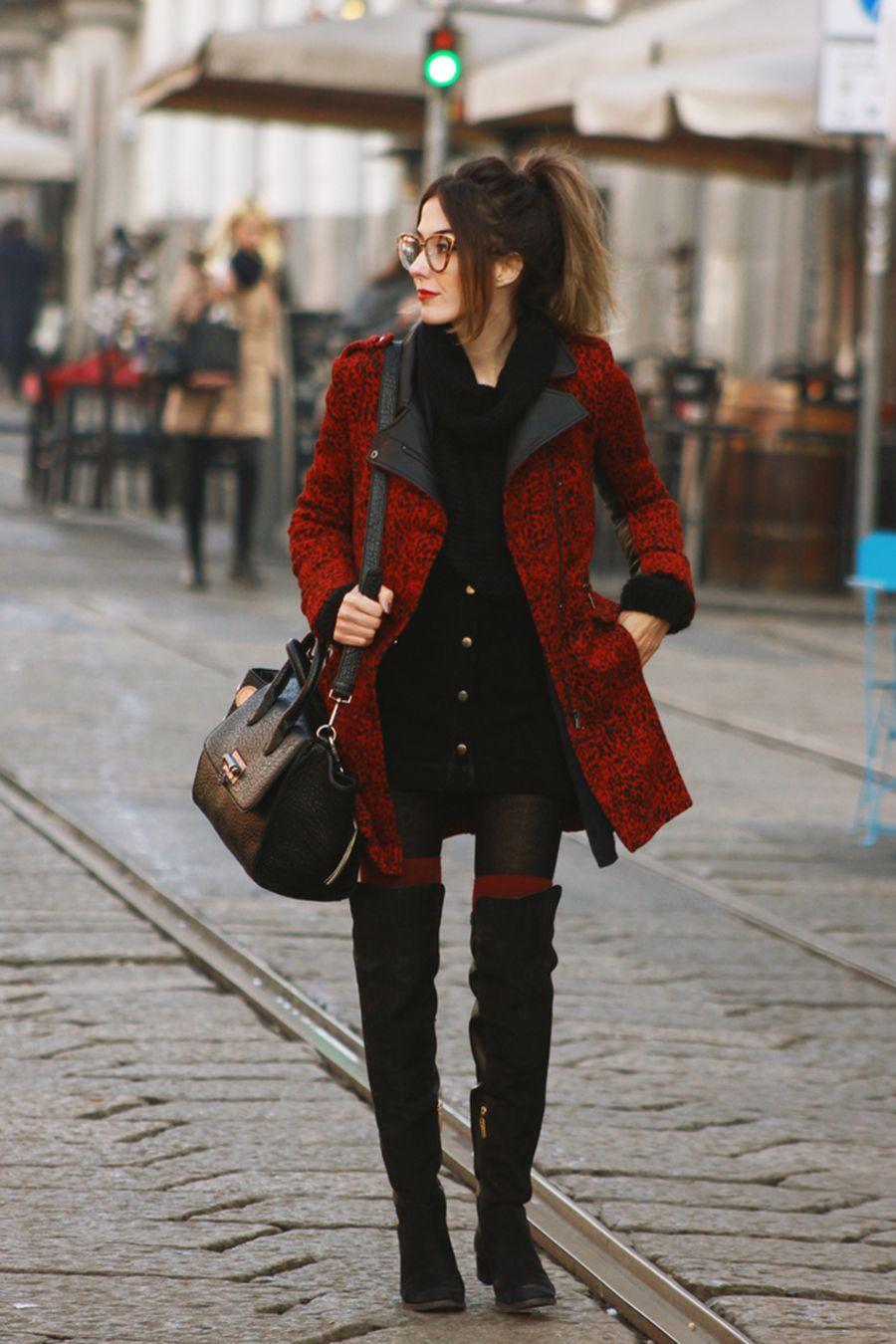Inspiring skirt and boots combinations for fall and winter outfits 85